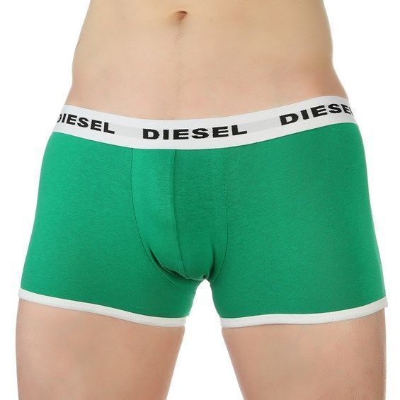 Мужские трусы боксеры зеленые с белой резинкой Diesel