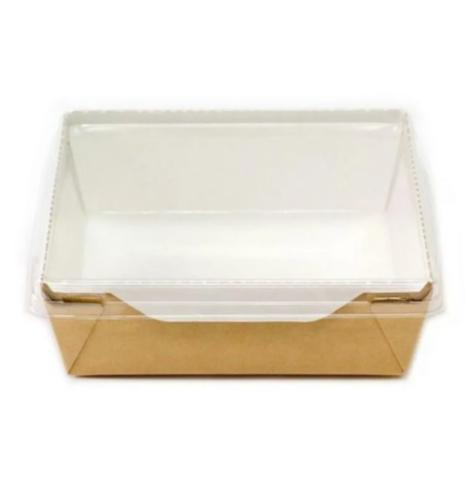 Коробка с пластиковой крышкой, 12,1*10,6*5,5см, 350мл, крафт