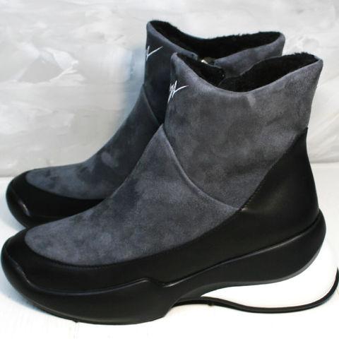Женские полусапожки ботинки кожаные женские зимние.  Серые полусапожки сникерсы без шнурков Jina LB-G.