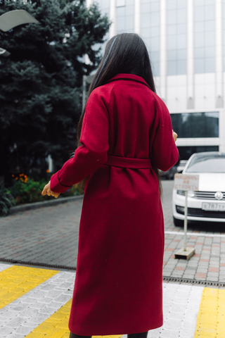 Бордовое пальто из кашемира купить