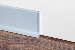 Плинтус алюминиевый анодированный плоский 40 мм х 3 м. Матовое серебро