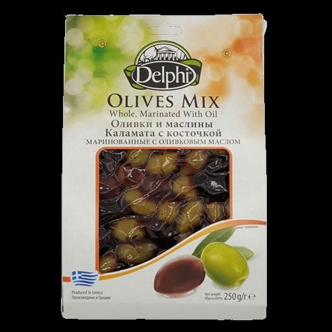 Оливки и Маслины Каламата с косточкой маринованные с оливковым маслом DELPHI, 250 гр