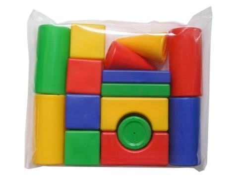Набор строительный для детей 15 элементов, четырех основных цветов (красный, желтый, синий, зеленый), из выдувной пластмассы состоит из: Кубик - 8х8 см 4 шт Большой цилиндр - ⌀8х16 см 4 шт Малый цилиндр - ⌀8х8 см 1 шт Конус - ⌀8х13 см 2 шт Прямоугольная призма - 16х8х3 см 2 шт Арка - 16х8х8 см 2 шт