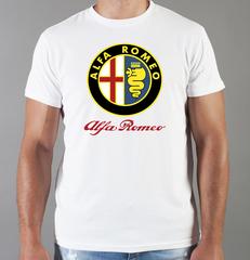 Футболка с принтом Альфа Ромео (Alfa Romeo) белая 0011