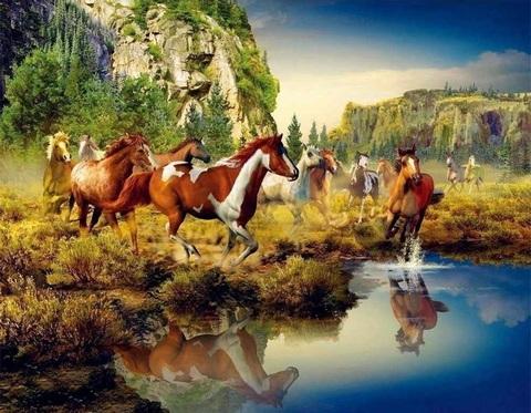 Алмазная Мозаика 40x50 Лошади у озера (арт. WXSA2652 )