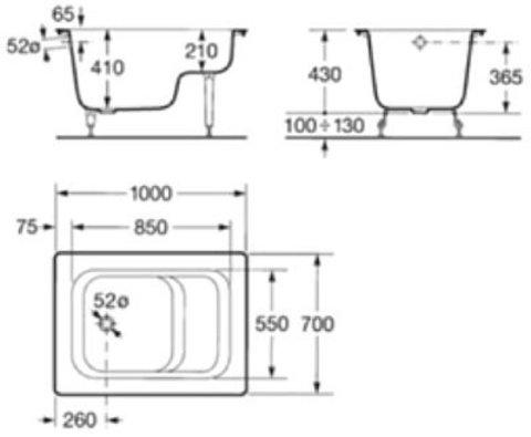 Ванна стальная Roca Banaseo Contesa  100x70 схема