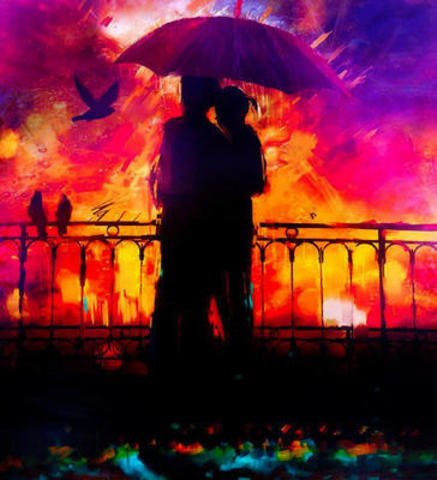 Картина раскраска по номерам 40x50 влюблённые