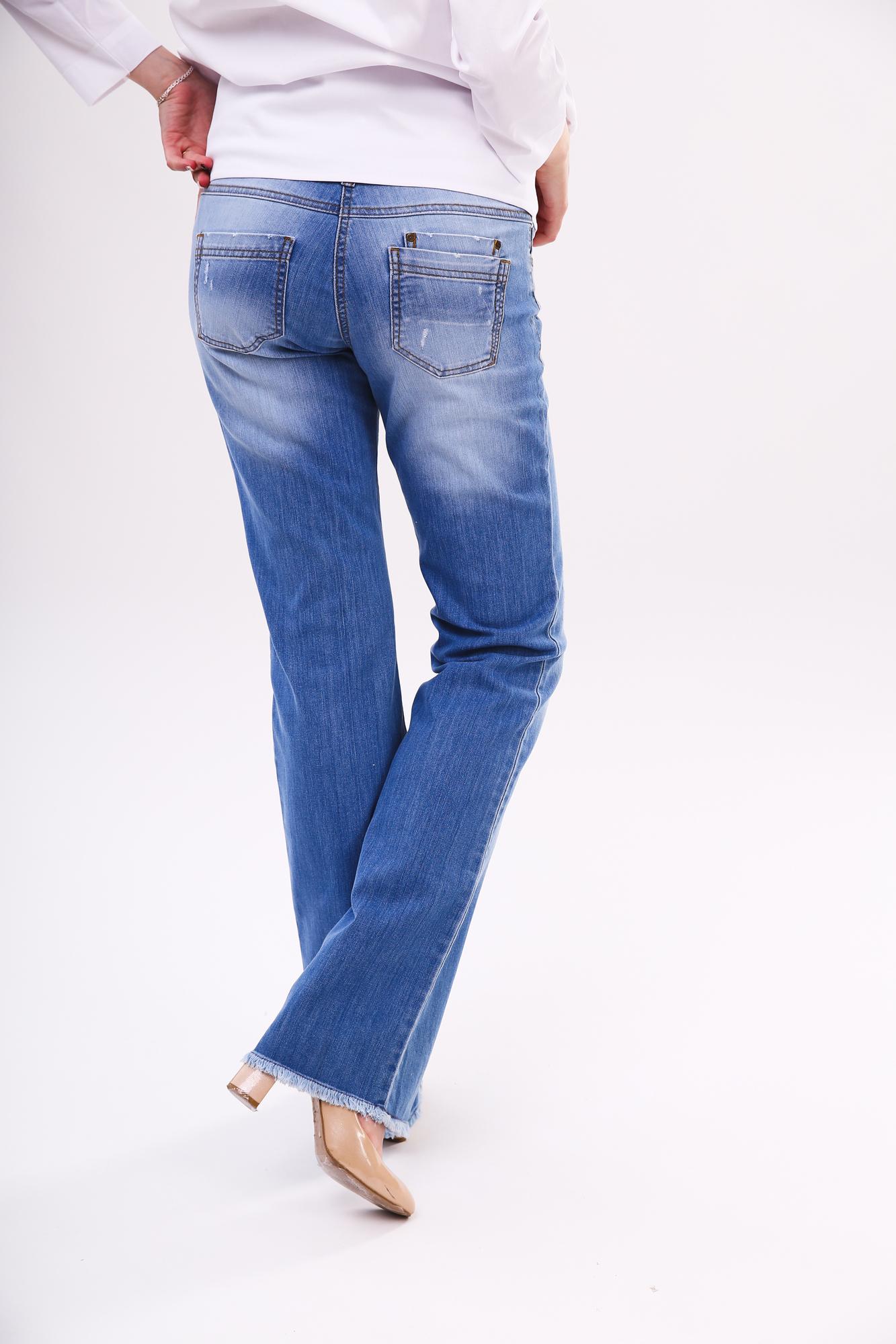 Фото джинсы для беременных (BOOT CUT) MAMA`S FANTASY, средняя посадка, высокая трикотажная вставка, из стрейчевого денима от магазина СкороМама, синий, размеры.