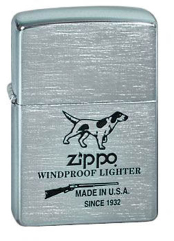 Зажигалка Zippo Hunting Tools с покрытием Brushed Chrome, латунь/сталь, серебристая, матовая123