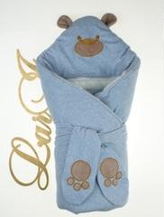Зимний набор на выписку из роддома Панда (голубой меланж)