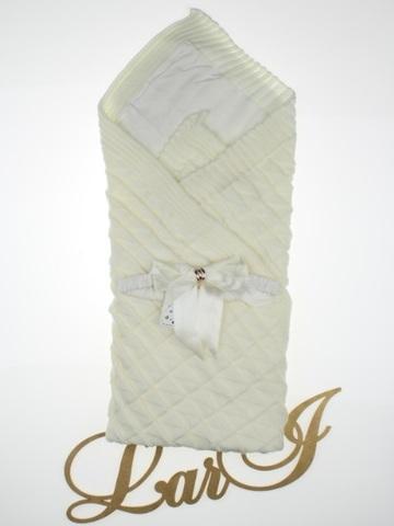 Вязаный конверт одеяло Лапушка (крем)