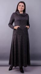 Селфі. Сукня максі для жінок плюс сайз. Графіт.