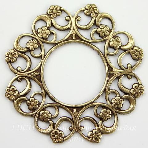 Винтажный декоративный элемент - рамка 30 мм (оксид латуни) ()