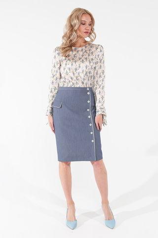 Фото прямая юбка цвета деним до колена с контрастной отделкой - Юбка Б142-127 (1)