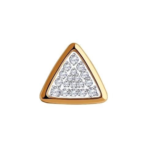 035945 - Подвеска в форме треугольника из золота с фианитами