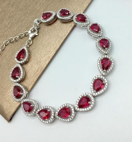 51681- Браслет из серебра с рубиновым кварцем