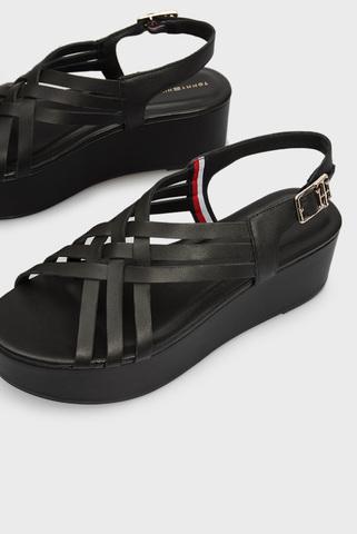Женские черные кожаные босоножки FEMININE LEATHER FLATFORM Tommy Hilfiger