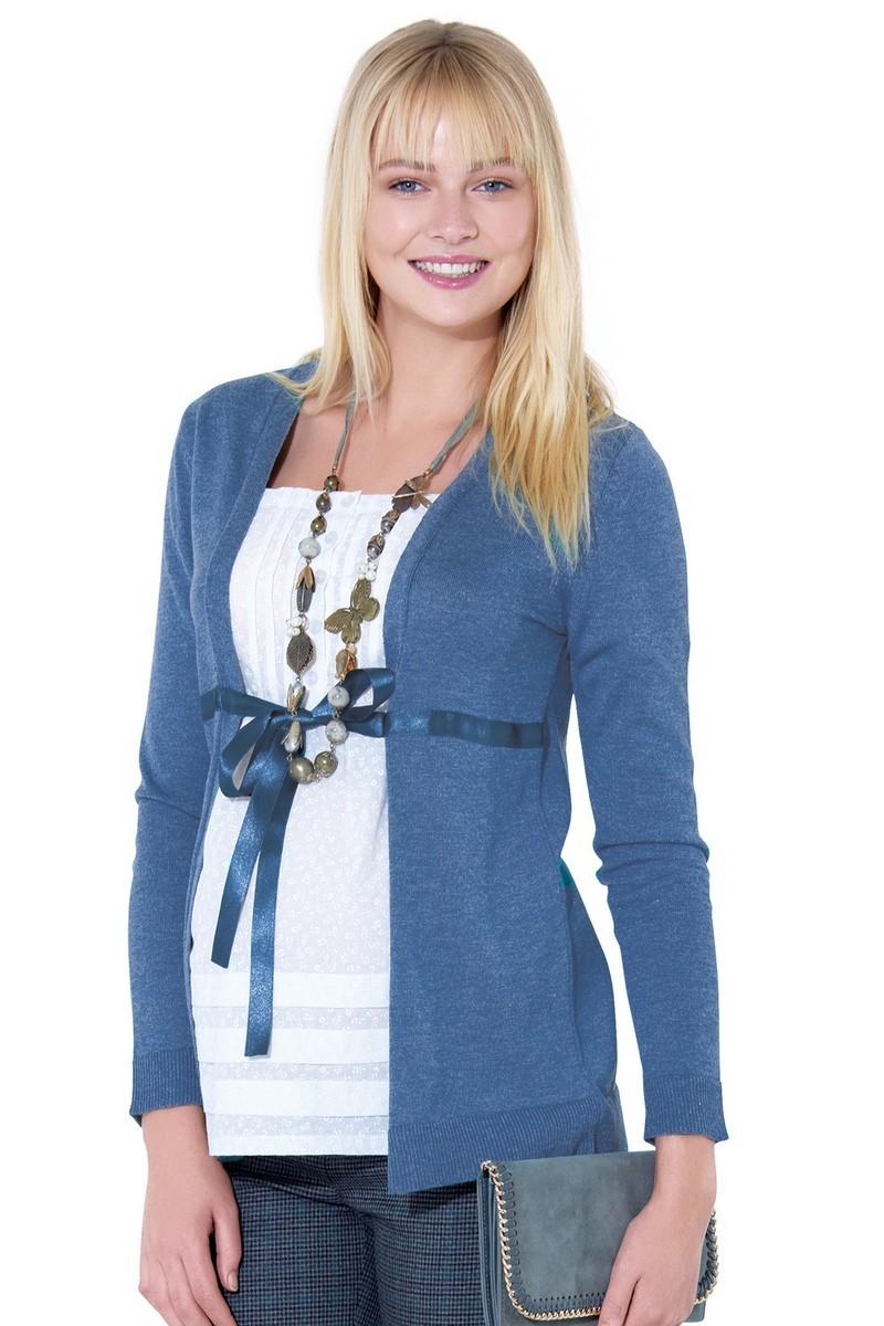 Джемпер-обманка для беременных 01037 синий