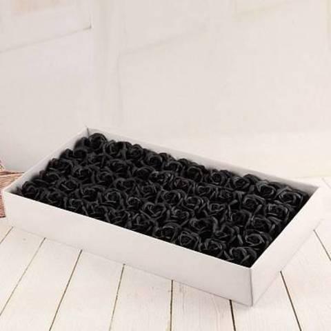 Ароматные мыльные бутоны роз в коробке чёрные (50 штук)