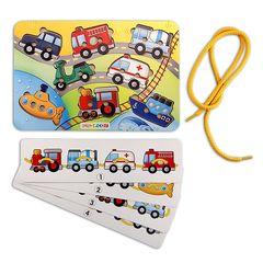 Развивающая игра шнуровка Транспорт (скорая помощь, пожарная машина, поезд, бетономешалка), Smile Decor П621