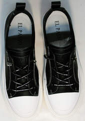 Летние спортивные туфли кеды черно белые женские El Passo sy9002-2 Sport Black-White.