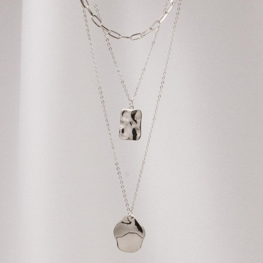 Трехслойное украшение из цепей с двумя медальонами (серебристый)