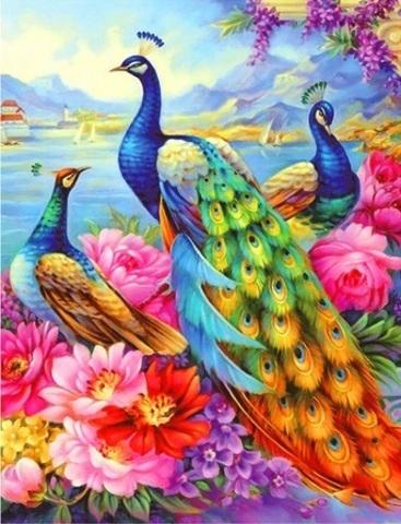 Алмазная Мозаика 40x50 Три павлина среди красочных цветов (арт. SGA1908)
