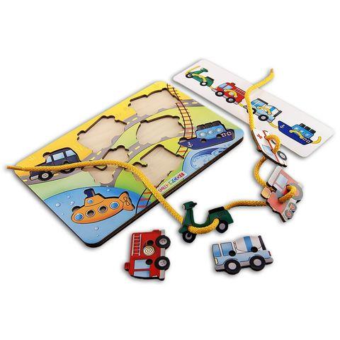 Развивающая игра шнуровка Транспорт (подводная лодка, корабль, поезд, бетономешалка), Smile Decor П621