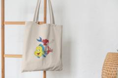 Сумка-шоппер с принтом Ариэль, Флаундер (С русалочкой, мультфильм) бежевая 0012