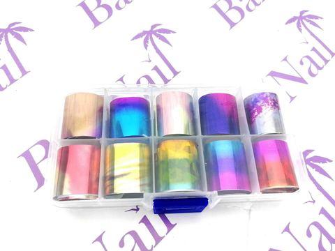 Набор фольги для декора ногтей #4 (цветная омбре) 10шт*50см