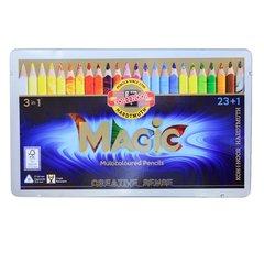 Набор 23 утолщенных многоцветных карандашей MAGIC и 1 карандаш-блендер в металлической коробке.