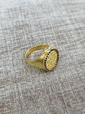 Кольцо Раджи, позолота с черными цирконами