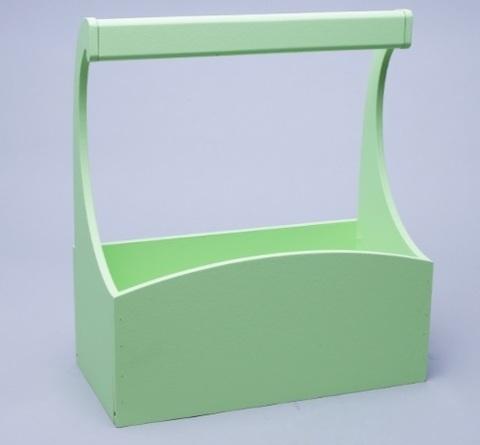 Ящик деревянный с ручкой (размер: 25х12,5х10 h25см) цвет: зеленый