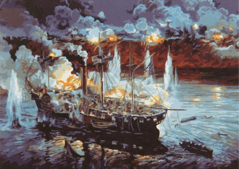 Картина раскраска по номерам 40x50 Битва на воде (ТС3096)