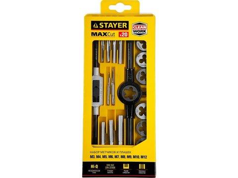 STAYER MaxCut 20 предметов, набор метчиков и плашек, легированная сталь
