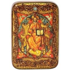 Инкрустированная Икона Спас в силах 15х10см на натуральном дереве, в подарочной коробке