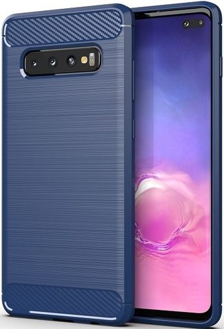 Чехол Samsung Galaxy S10 Plus цвет Blue (синий), серия Carbon, Caseport