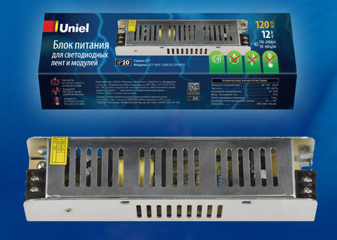 UET-VAS-150A20 12V IP20 Блок питания, 150Вт. Металлический корпус. TM Uniel