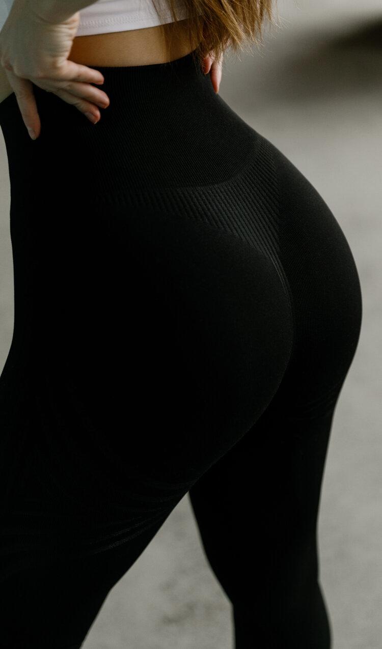 Купить черные женские леггинсы Seamless Lines Black с доставкой