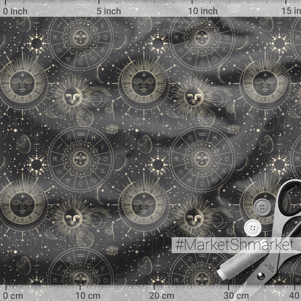 Солнце и луна. Космос, гороскоп. Винтажный стиль гравюры