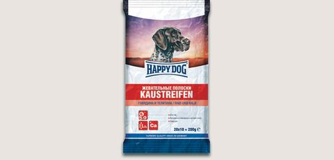 HAPPY DOG Жевательные полоски с говядиной и телятиной 0,2кг