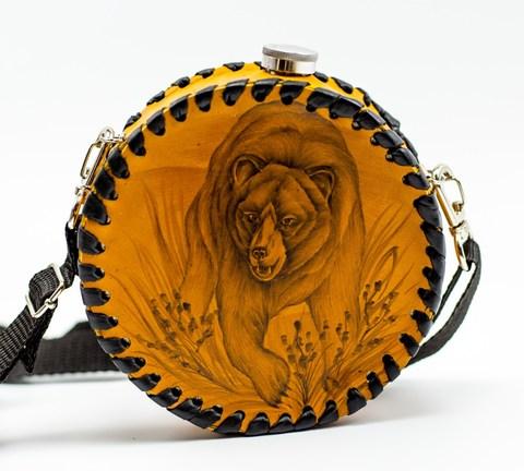 Фляга в кожаном чехле Медведь, 500мл