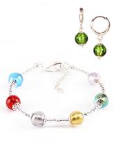 Комплект Carnavale Argento (браслет и серьги Piccolo зеленые)
