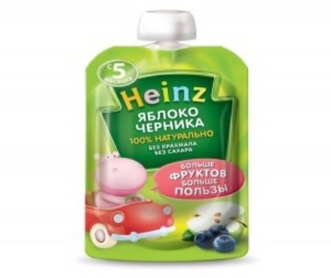 Heinz Пюре Пюре Яблоко-черника (пауч 90гр) с 5мес