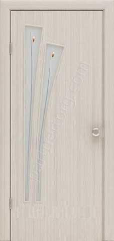 Дверь Фрегат ПО-011Ф Пальма, матовое с фьюзингом, цвет беленый дуб, остекленная