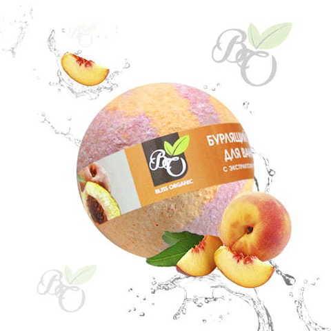 Бурлящий шар для ванн «Персик», Bliss organic 130 гр