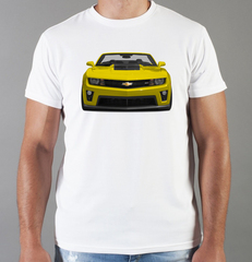 Футболка с принтом Шевроле, Камаро (Chevrolet, Camaro) белая 003