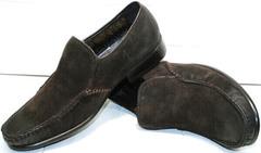 Модные зимние туфли с мехом мужские Welfare 555841 Dark Brown Nubuk & Fur.