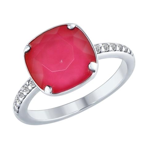 94012432 - Кольцо из серебра с кристаллом Swarovski