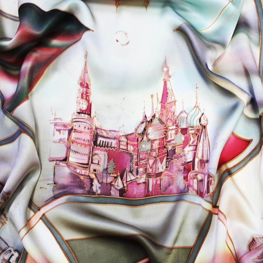Шелковый платок батик Моя Москва С-60